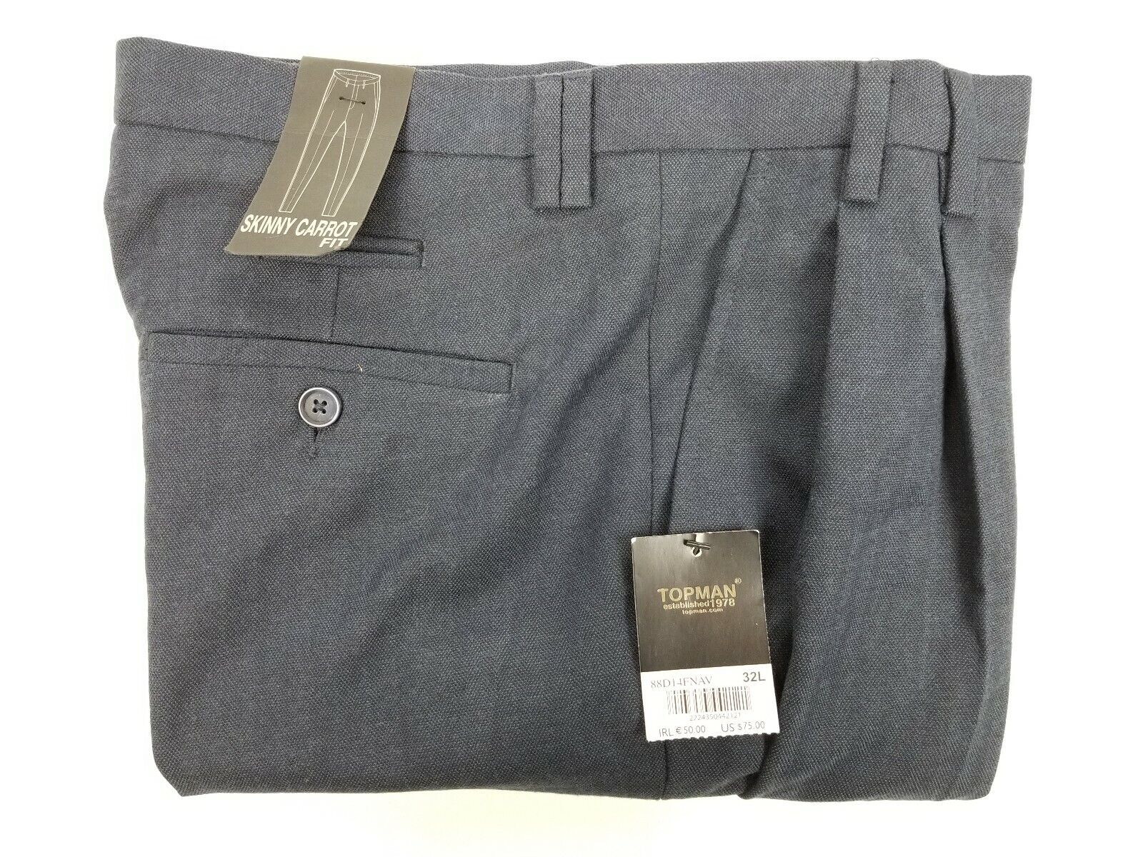 New TOPMAN Men's Pants 33x32 bluee Skinny Carred Fit Twin Pleat Tapered Cuffed