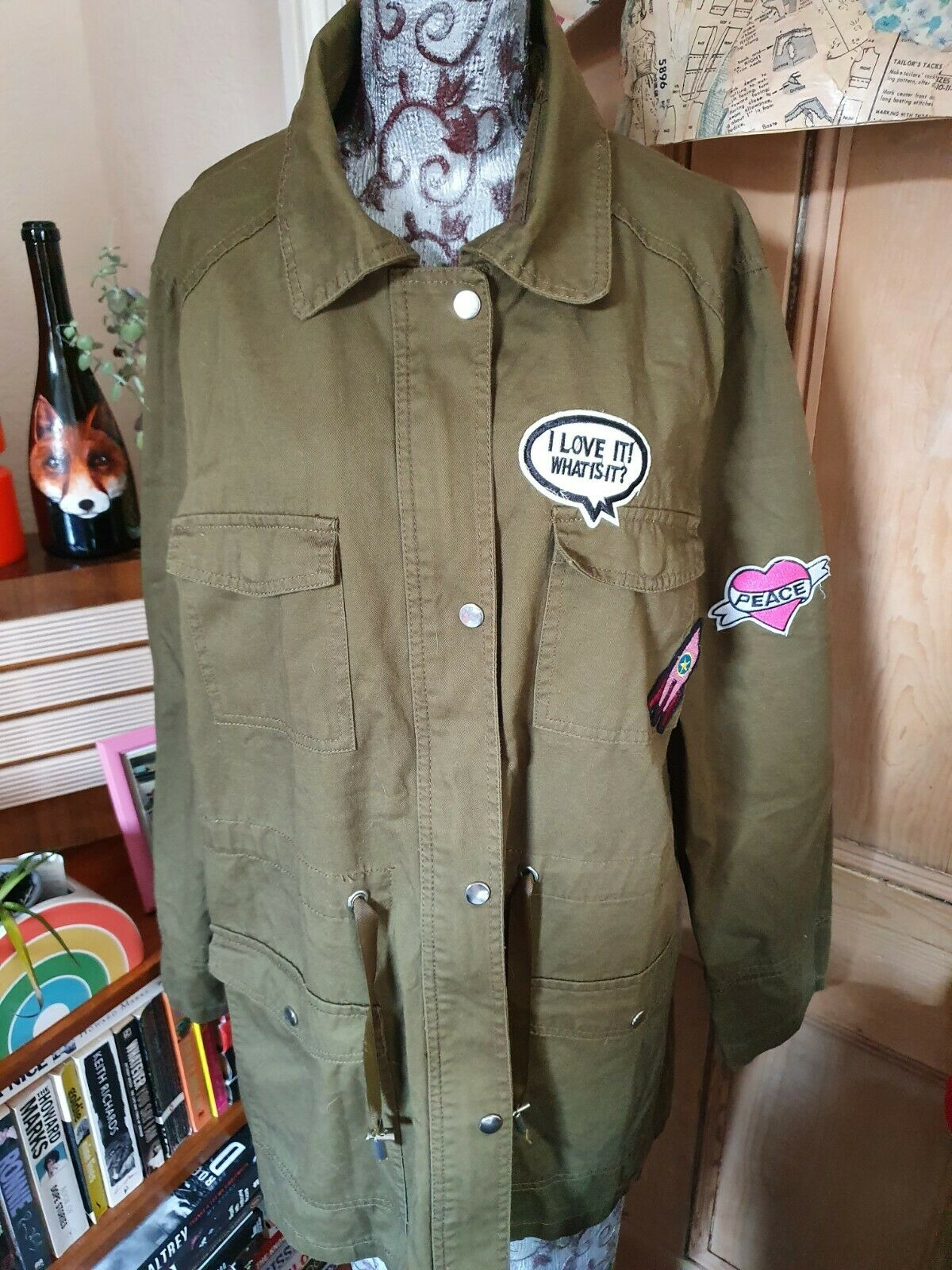 PAPAYA OLIVE GREEN COTTON BADGE TRIM COAT NEW WITH TAGS SIZE 20