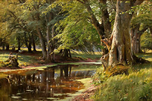 Art-Giclee-Print-Forest-Creek-Landscape-Oil-painting-Printed-on-canvas-P750