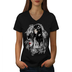 Wellcoda-BELLISSIMO-ANIME-Da-Donna-V-Neck-T-shirt-misterioso-Design-Grafico-Tee