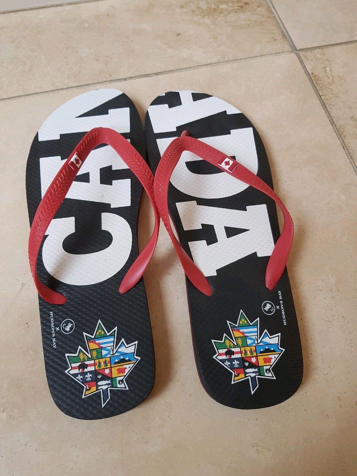 Men's Black Red Canada 150 Hudson Bay Flip Flops US 12/13 Beach Summer Holidays