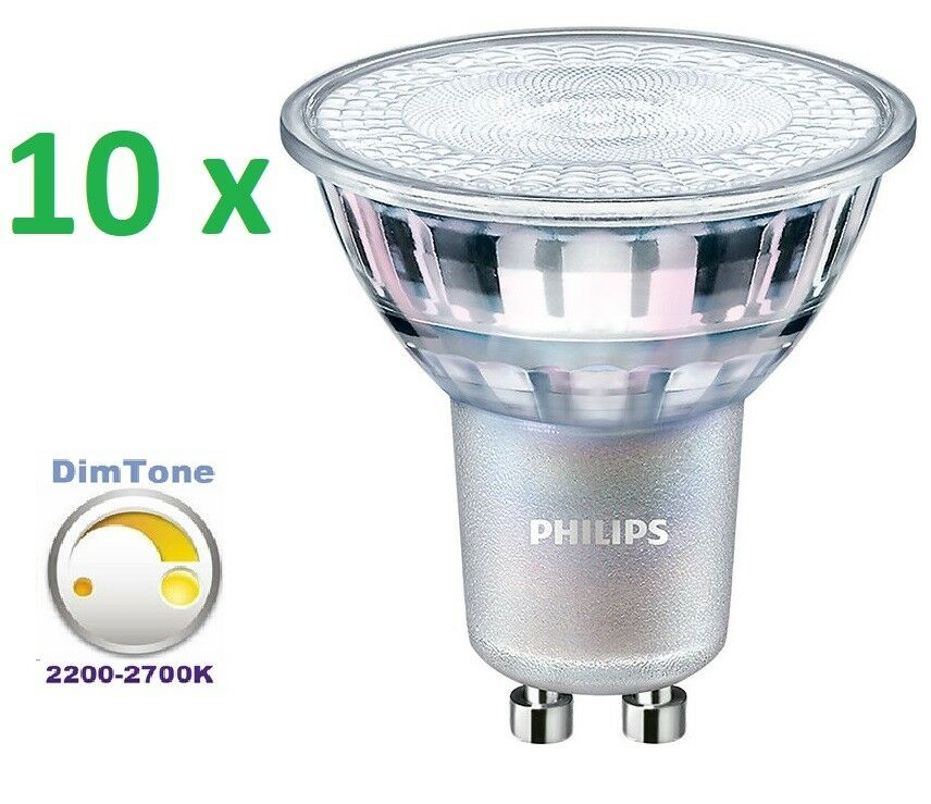 10x Master Philips LED spotmv dimtone gu10 emisor 4,9-50w 2700k regulable 36 grados