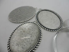 3 LARGE Retro Vintage Oval Antique Silver Pendant Making Kit  40x30mm tray