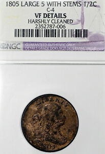 1805-VF-Details-Harshly-Cleaned-Large-5-With-Stems-Half-Cent-1-2C-NGC-Graded