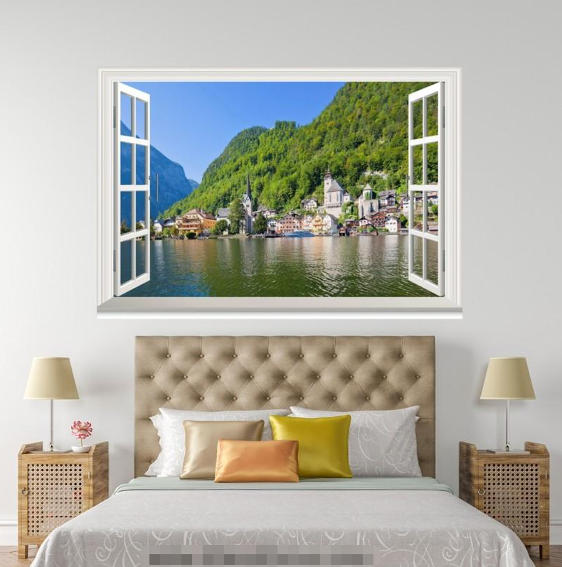 3D Mount Trees River 117 Open Windows WallPaper Murals Wall Print AJ Carly