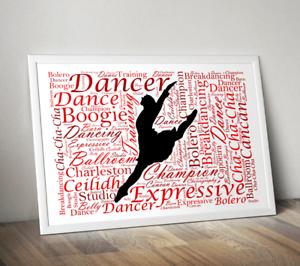 Personalised Dancer Word Art Print Dance Teacher Gift Dancing Gift