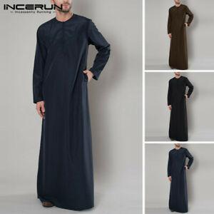 Mens Muslim Arab Thobe Full Length Thawb Kaftan Saudi Style Robe Kaftan Tunic UK