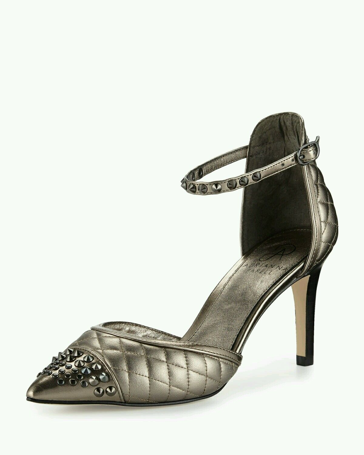 Adrianna Papell Hope Quilted Pointed-Toe d'Orsay Pump Lush Gunmetal Sz 7.5  139