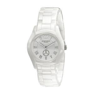 Emporio-Armani-Uhr-AR1405-CERAMICA-Keramik-Weiss-Damen-Armbanduhr-Quarz-NEU