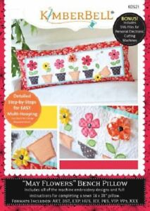 KimberBell-Machine-Embroidery-CD-In-the-Hoop-Bench-Pillow-May-Flowers-KD521