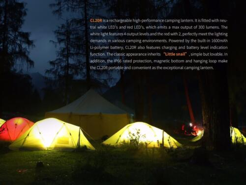 Fenix CL20R 300 Lumen Rechargeable Camping Lantern with USB Adapters Orange