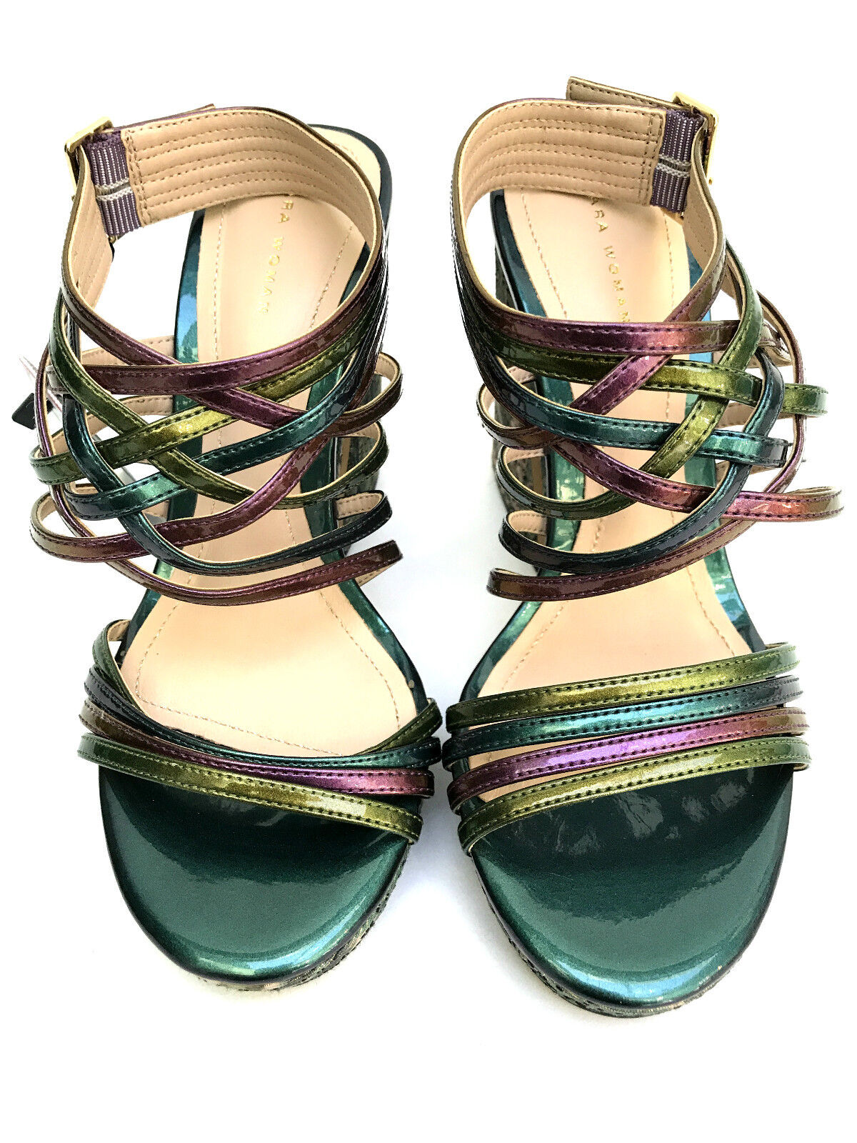 ZARA MULTICOLORED HIGH UK3 HEEL PLATFORM STRAPY SANDALS SIZE UK3 HIGH EUR36 US6 fbcbdb