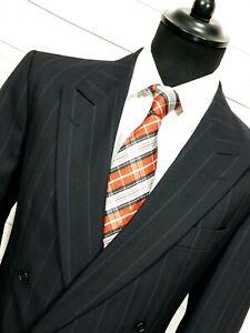 para-Hombre-Hugo-Boss-Vintage-Doble-Abotonadura-Negro-Rayas-Blazer-chaqueta-tamano-de-Reino-Unido
