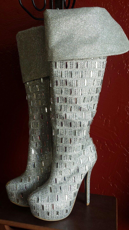Silver Knee High Heal Boots Glitter Sexy Boots size 6.5 6.5 6.5 de949e
