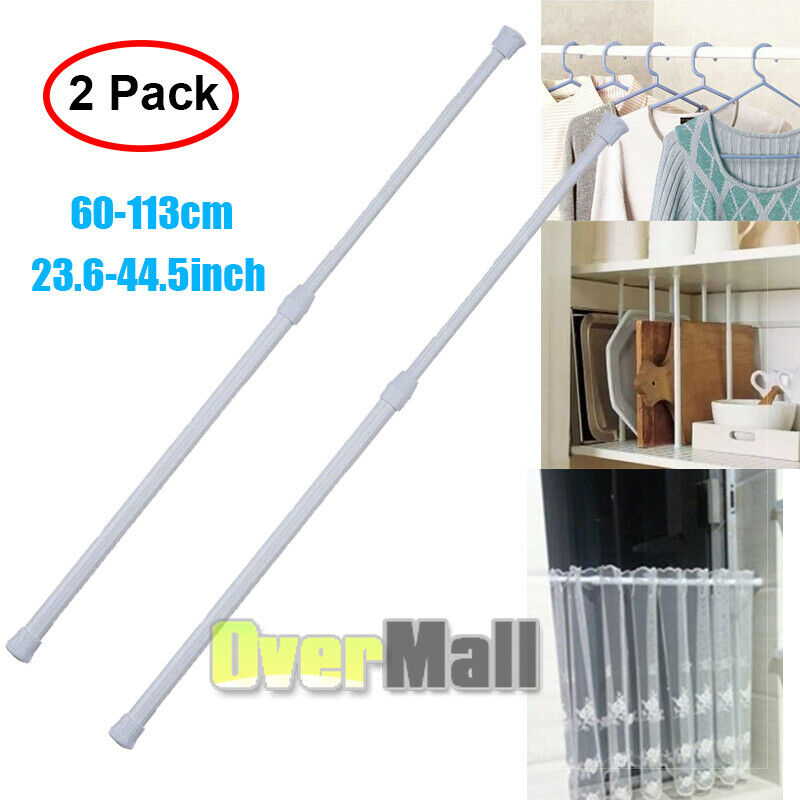 2 Extendable Spring Telescopic Voile Tension shower Curtain Rod Rail Loaded Pole