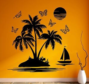 Palms Vinyl Wall Decal Island Relax Beach Style Room Decor Stickers Mural #3098di