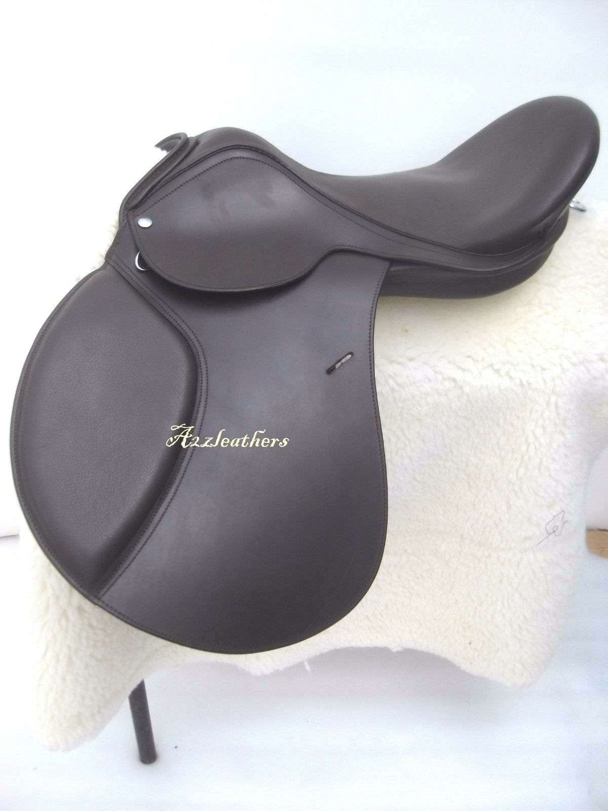 Dark Brown leather Treeless GP (jumping) Saddle with accessory in 9 sizes
