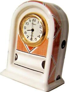 601016-Keramik-Miniaturuhr-Quarz-Einsteckuhr-made-in-Japan-braun-schw-kariert