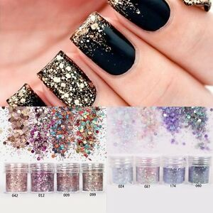 10ml Nail Art Sparkle Glitter Powder Dust Mix Pot Tips Nail