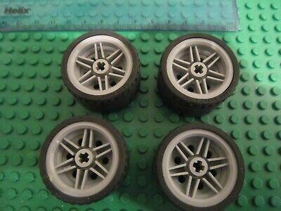 Lego 4 x Large Light Grey Balloon Wheels 37 x 22 soft Pneumatic Rubber Tyres