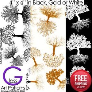 Tree-of-Life-Fusing-Glass-Decal-Ceramic-Waterslide-Enamel-Black-White-Gold