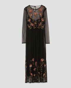 50c1d593 Image is loading Zara-AW17-Women-Embroidered-Midi-Dress-Size-M-