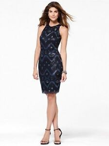 b416f2ebeeb CACHE NWT Sexy Black Lace Sequin Dress Evening Cocktail Party M 10 ...