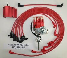 CHRYSLER 413-426-440 Red SMALL Cap HEI Distributor, 50K COIL & Spark Plug Wires