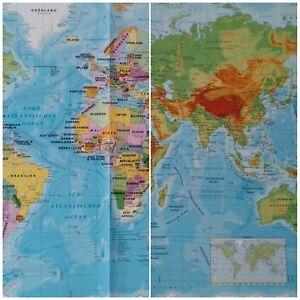 Landkarte Deutsch.Details Zu Welt Landkarte Deutsch Englisch Physisch Politisch A2 Plakat Karte Poster