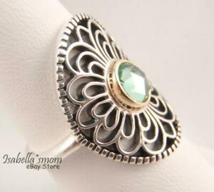 55bbe006f Image is loading VINTAGE-ALLURE-Authentic-PANDORA-Silver-14K-GOLD-Green-