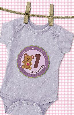 Monthly Baby Stickers Girl 'MuchMore' Cute Flower Shower Gift Onesie Photo Prop