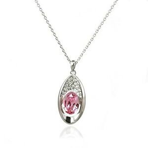 GORGEOUS-18K-WHITE-GOLD-PLATED-GENUINE-PINK-CLEAR-CUBIC-ZIRCONIA-OVAL-NECKLACE