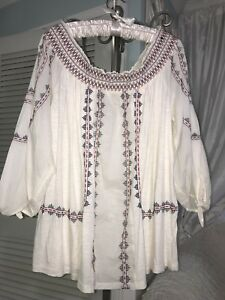 NEW-Plus-Size-1X-XL-Ivory-Boho-Peasant-Top-Blouse-Shirt-74