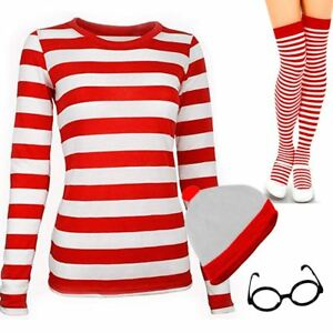 Red-And-White-T-Shirt-Striped-Hat-Socks-Glasses-Set-TShirt-Ladies-World-Book-Day