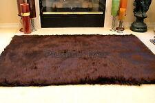 3' x 5' Chocolate Brown faux fur bearskin plush shaggy contemporary rug f3