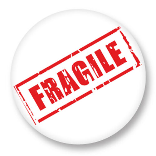 "Pin Button Badge Ø25mm 1/"" Fragile Delicat Logo Symbole Symbols Label"