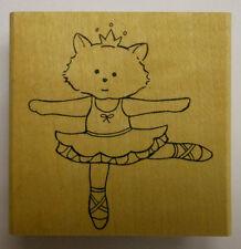 Ballerina Kitty Cat Rubber Stamp by JudiKins
