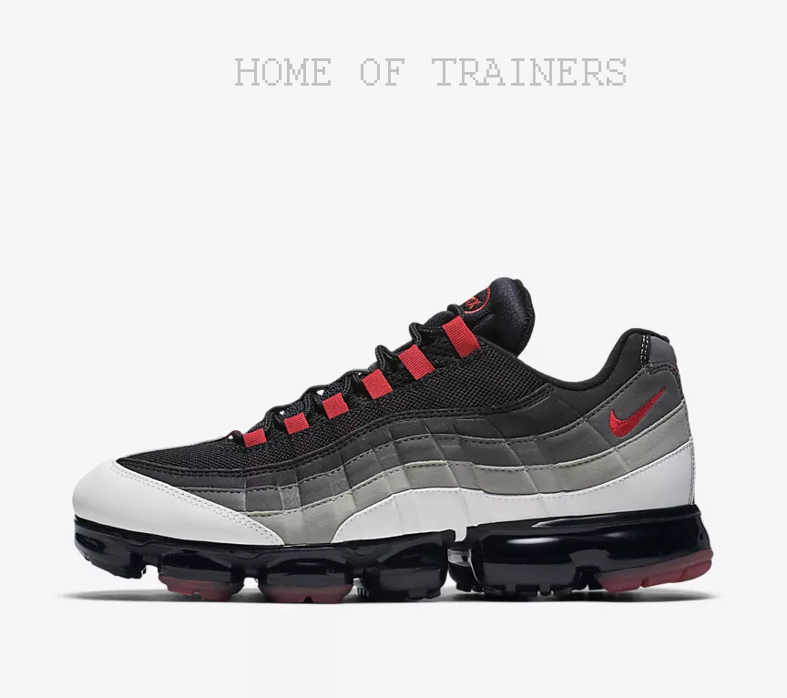 Nike Air VaporMax 95 White Dark Pewter Granite Hot Red Men's Trainers All Sizes