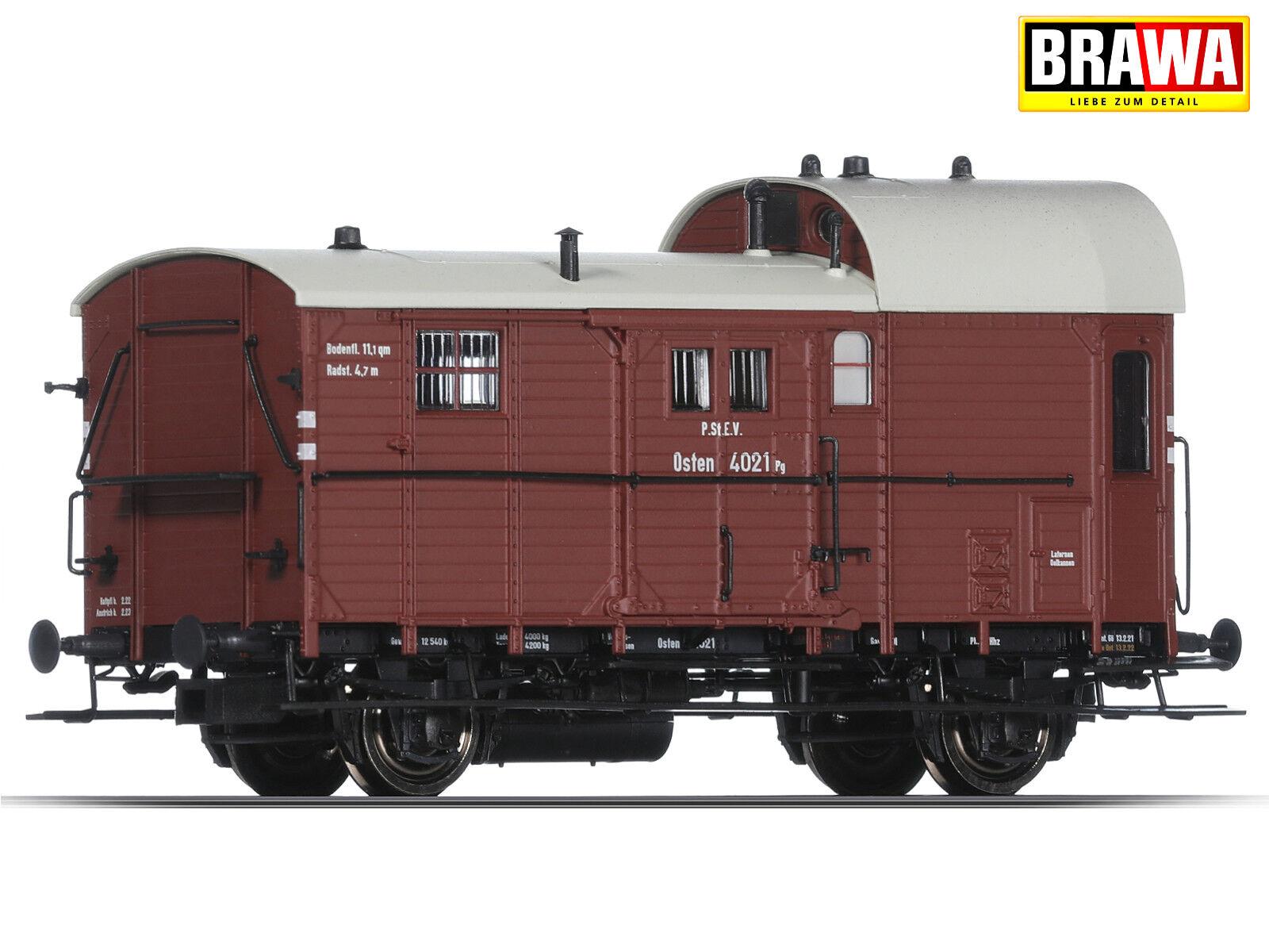 BRAWA 49400 h0 treno merci Borsaagli carrello 14 PG della P. ST. e.V. + + NUOVO & OVP + +