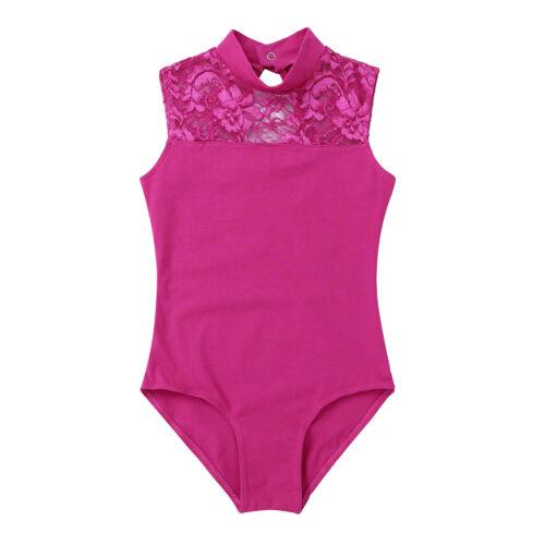 Kids Sleeveless Ballet Gymnastics Leotard Girls Cutout Dancewear Lace Jumpsuit
