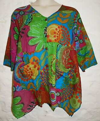 New Fair Trade Blouse Top 22 24 Hippy Ethnic Cotton Hippie Ethical Smock Gypsy