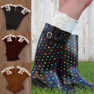 Damen Mädchen Crochet Strick Spitze Beinwärmer Beinstulpen