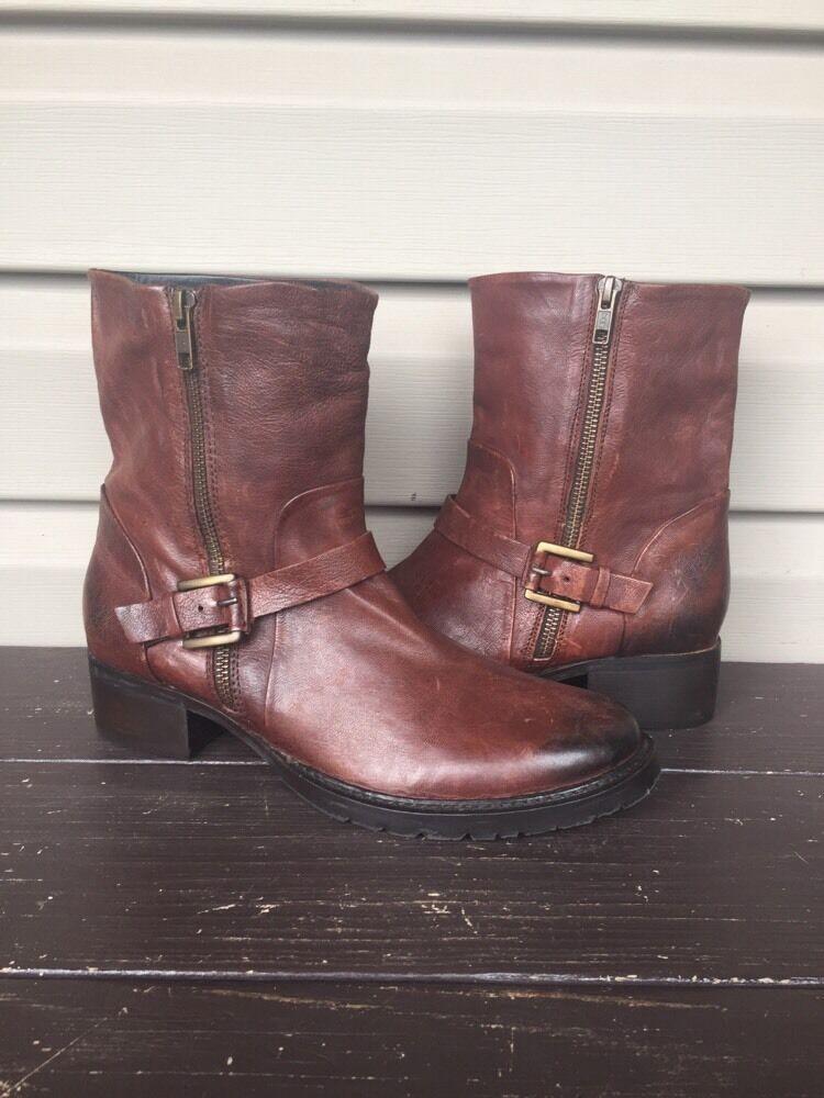 MISMATCH WOMEN'S ADAM TUCKER LANDON ANKLE BOOTS BUCKLE BROWN 8.5 / 9 NEW 158