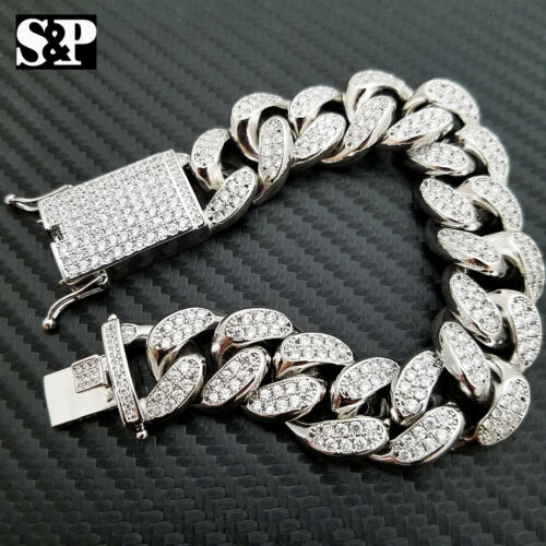 """Hip Hop Iced out 19mm 8.5/"""" Heavy White Gold PT Brass Micro Pave Stone Bracelet"""