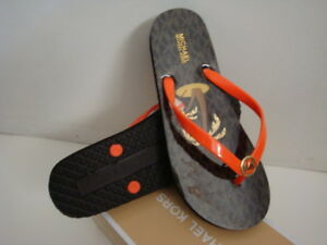 d9f6de102642a0 Image is loading New-Michael-Kors-Shiny-Flip-Flop-Orange-Mimos-