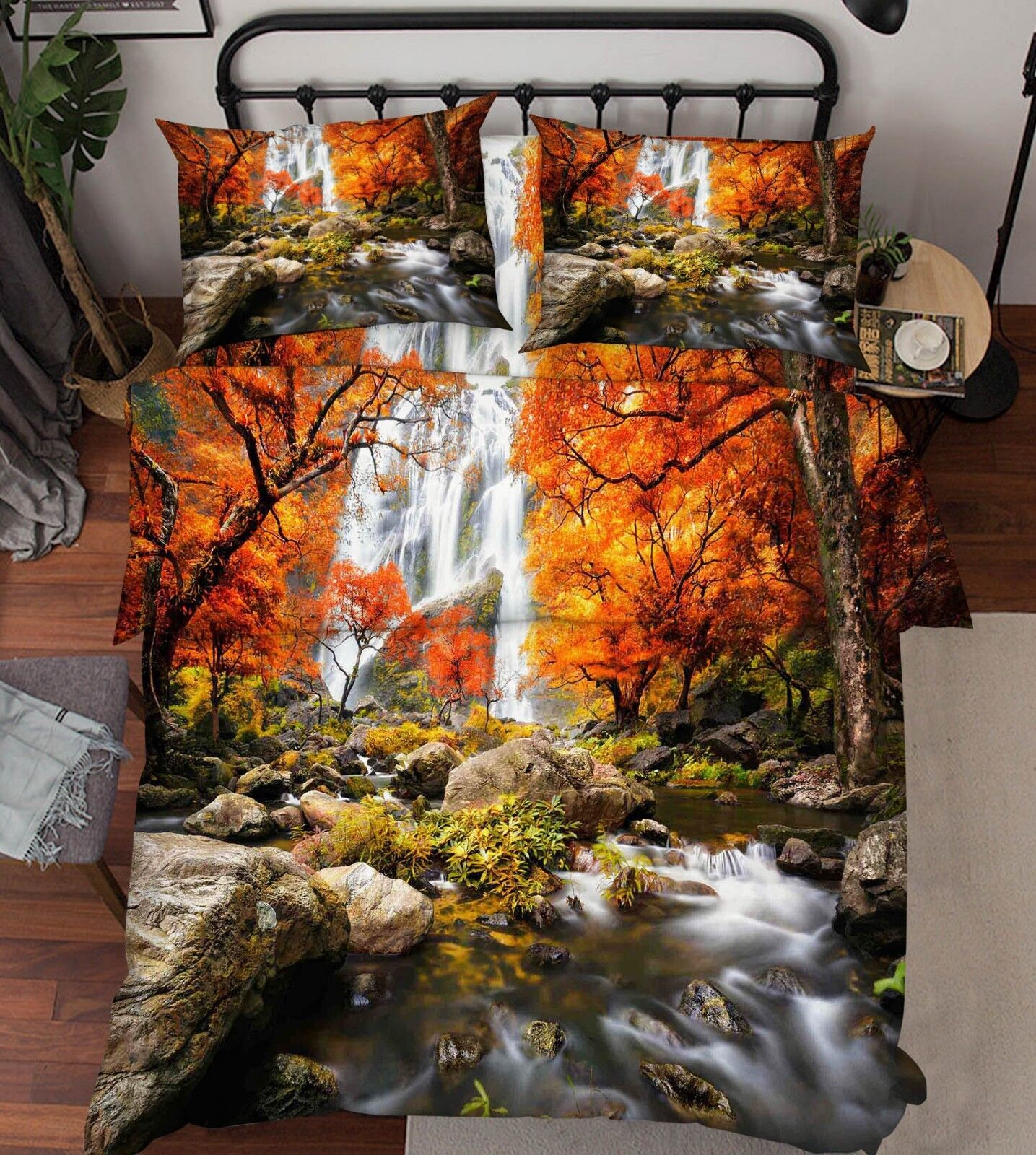 3D Woods Rivers 66 Bed Pillowcases Quilt Duvet Cover Set Single King UK Lemon