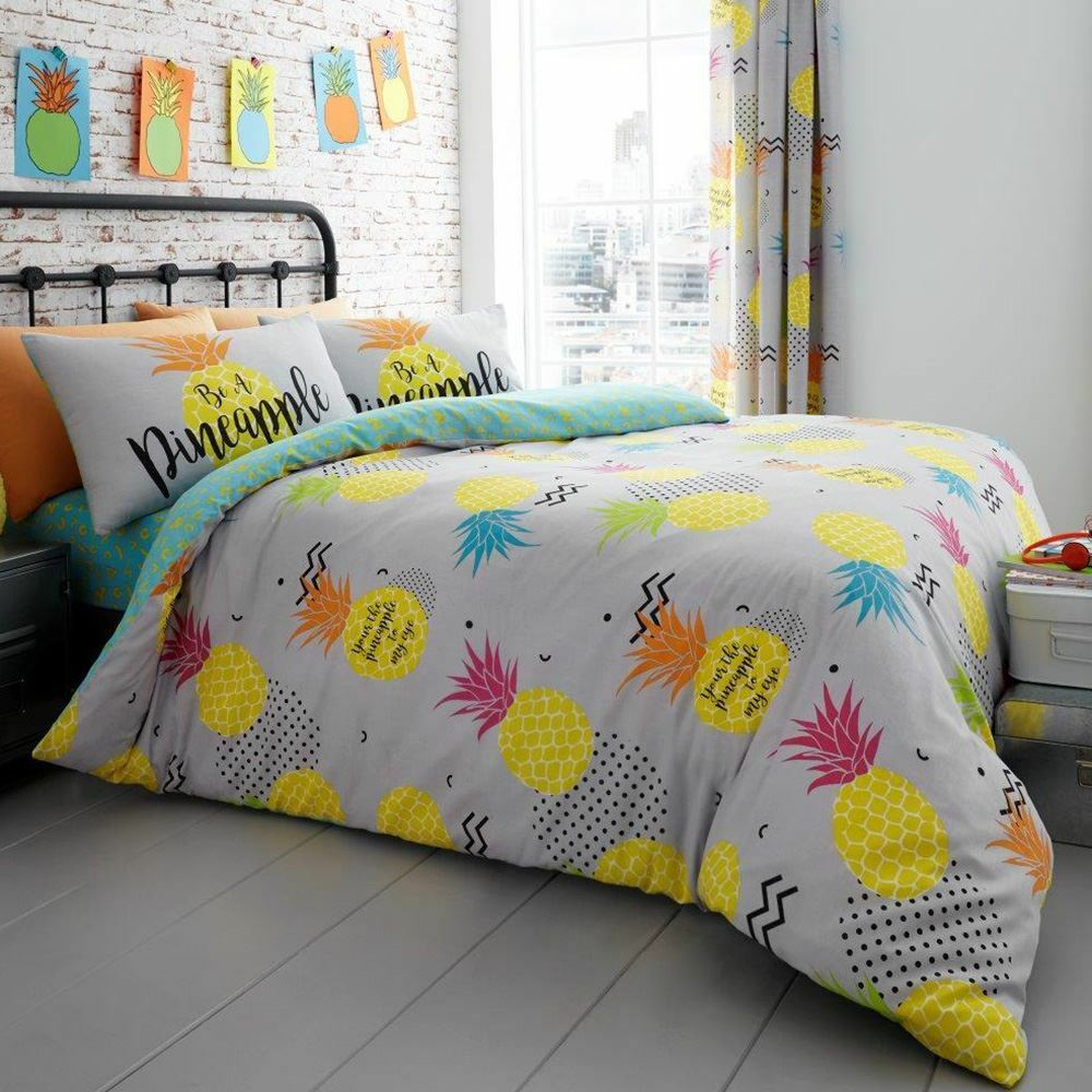 PINEAPPLE DOUBLE DUVET COVER AND PILLOWCASE SET 2 IN 1 REVERSIBLE BEDDING NEW