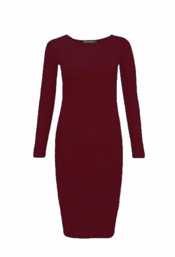 Women Long Sleeve Midi Dress Plain /& Print Jersey Stretch Bodycon Plus Size 8-26