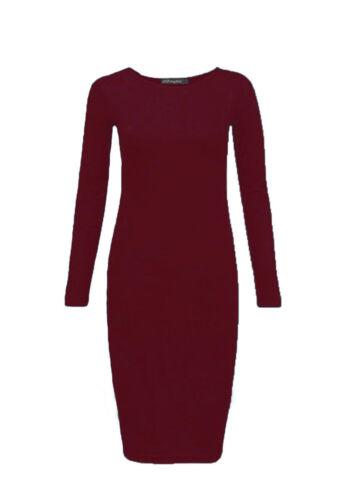 Women Long Sleeve Midi Dress Plain /& Print Jersey Stretch Bodycon Plus Size 8-26