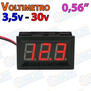 Voltimetro-DigitaI-ROJO-3-5V-30V-DC-0-56-Led-2-hilos-empotrable-coche-panel